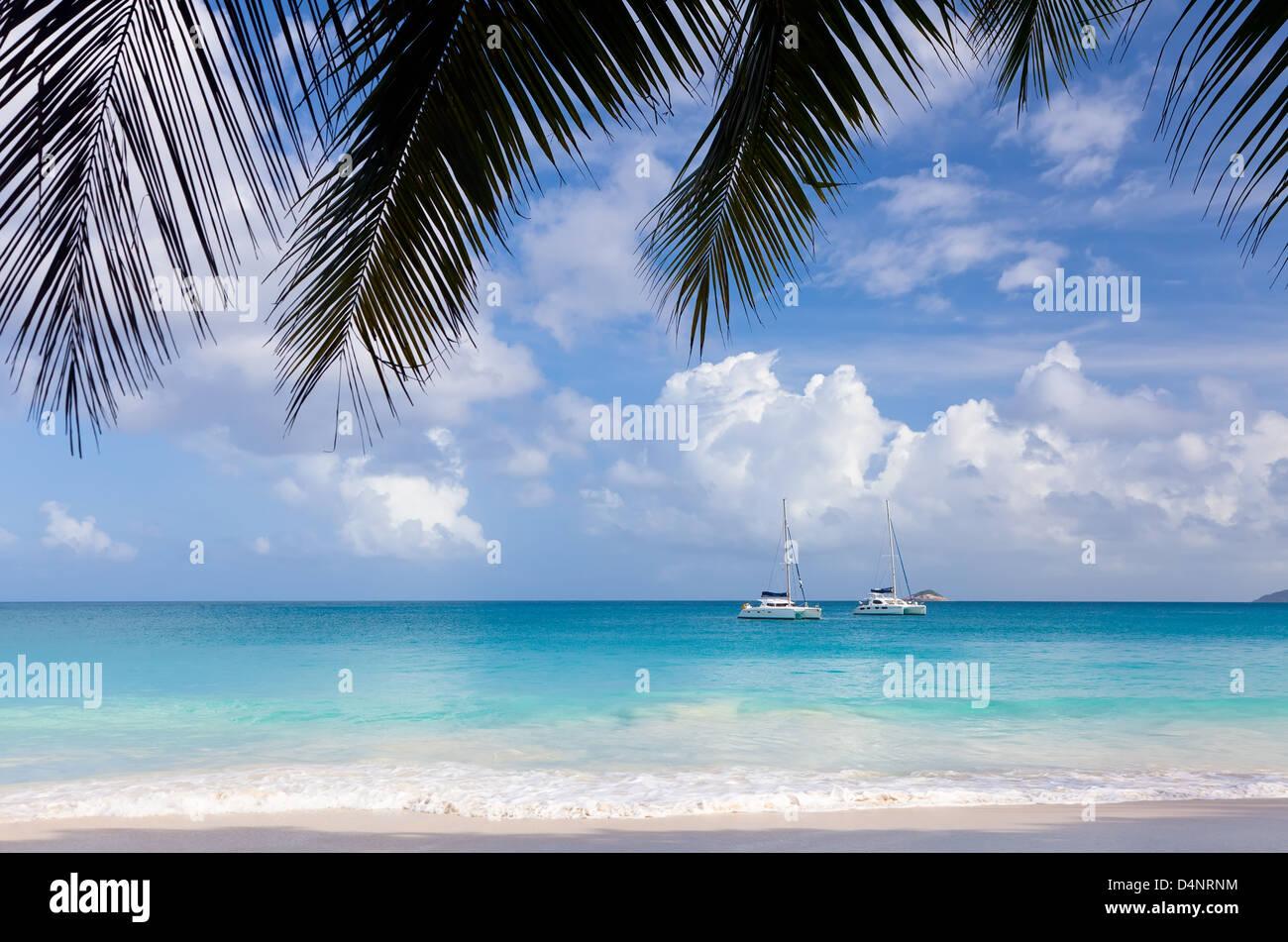 Tropical beach Anse Lazio, Seychelles - Stock Image