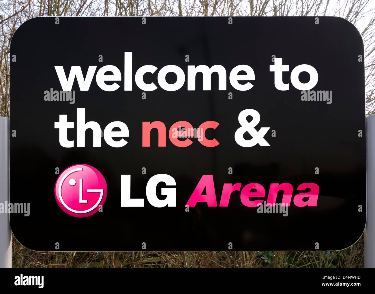 Sign at the entrance to the NEC (National Exhibition Centre) and LG Arena, Birmingham, West Midlands, UK - Stock Image