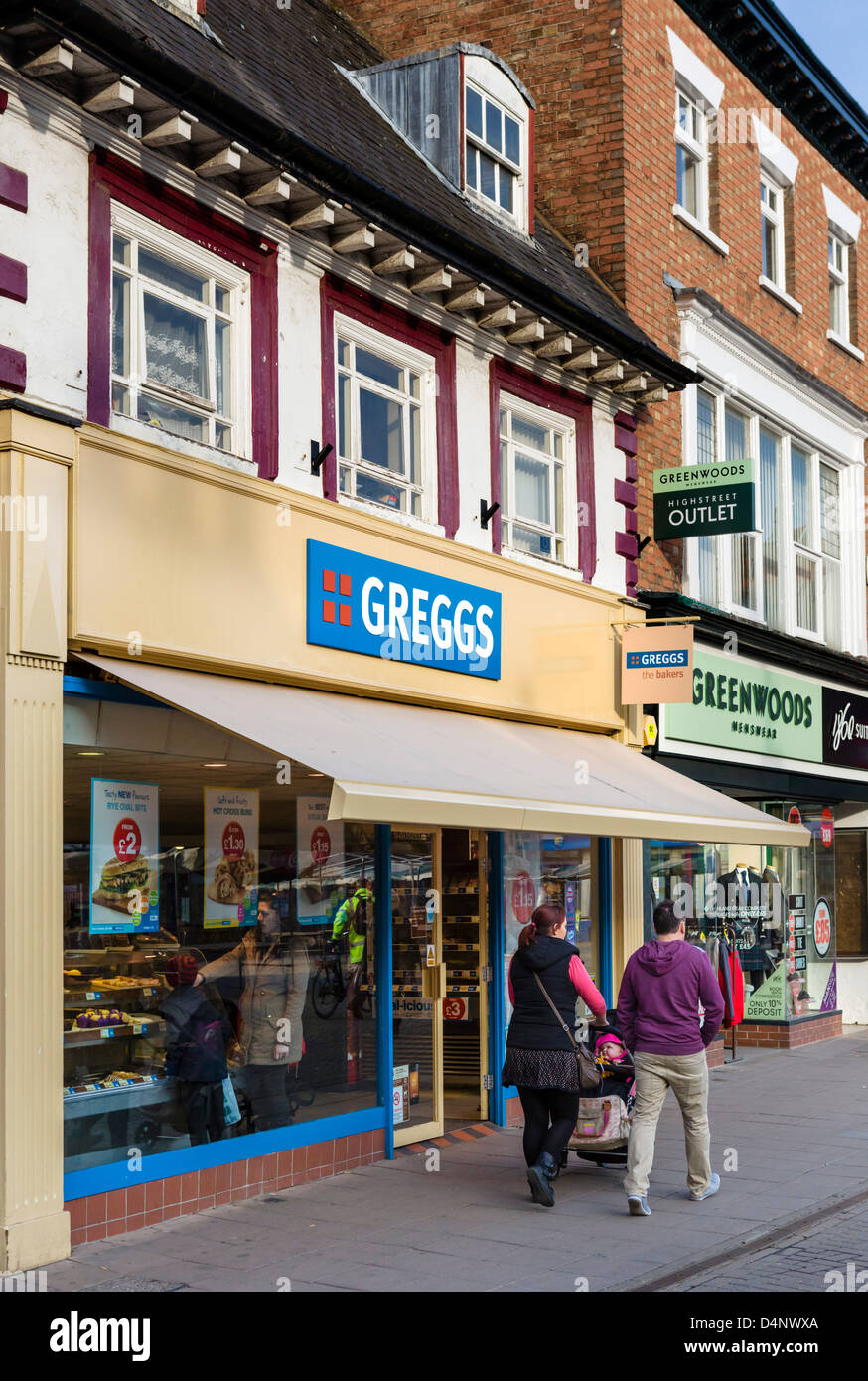 Greggs bakery outlet in Melton Mowbray, Leicestershire, UK - Stock Image