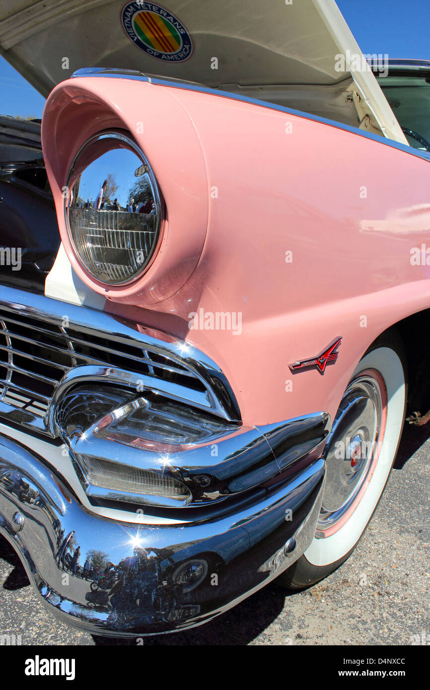 Front left view close up of a classic pink Ford Thunderbird at the Run to the Sun car show in Myrtle Beach, Sc, Stock Photo