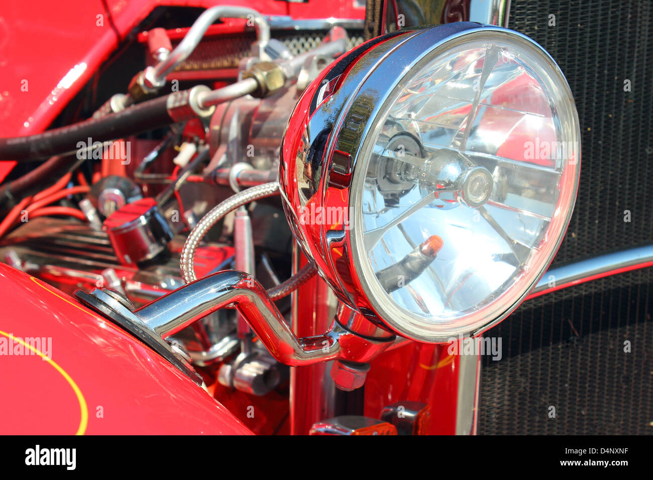 Headlamp on a classic hotrod at the Run to the Sun Hot Rod Show in Myrtle Beach, SC on March 15, 2013 - Stock Image