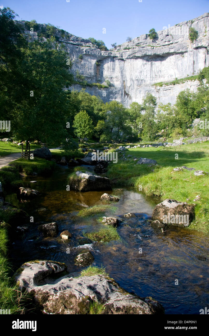 Malham Cove and Malham Beck, Yorkshire Dales National Park, England - Stock Image