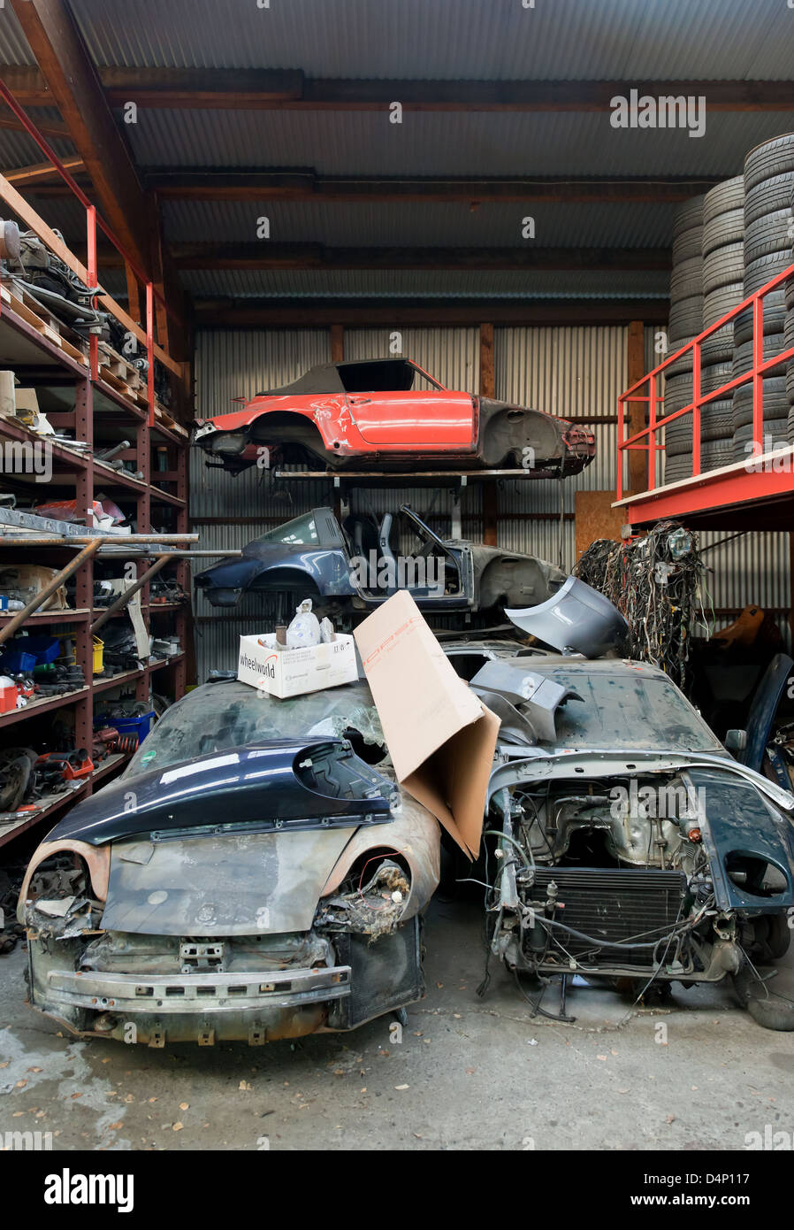 Berlin Germany Old Porsche Cars In The Warehouse Of A Car Repair Stock Photo Alamy
