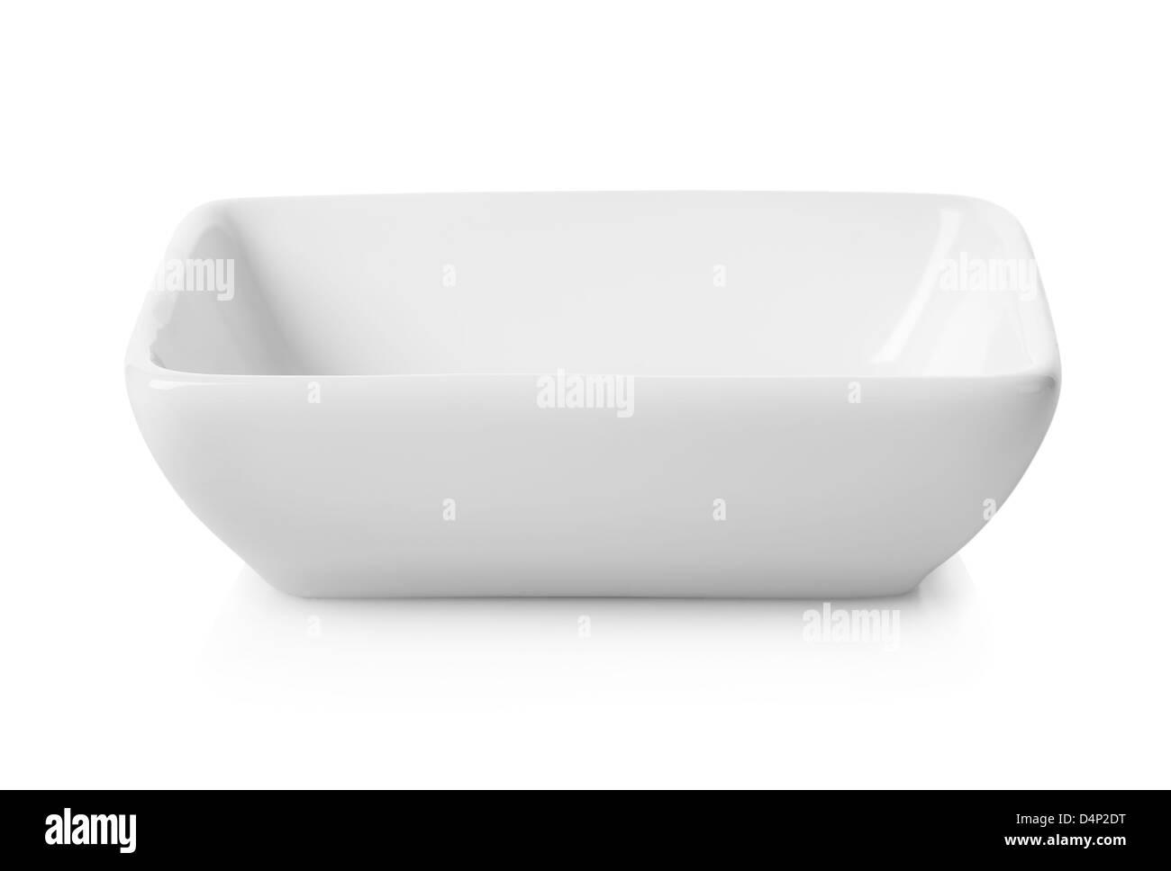 Empty white bowl isolated on white background - Stock Image