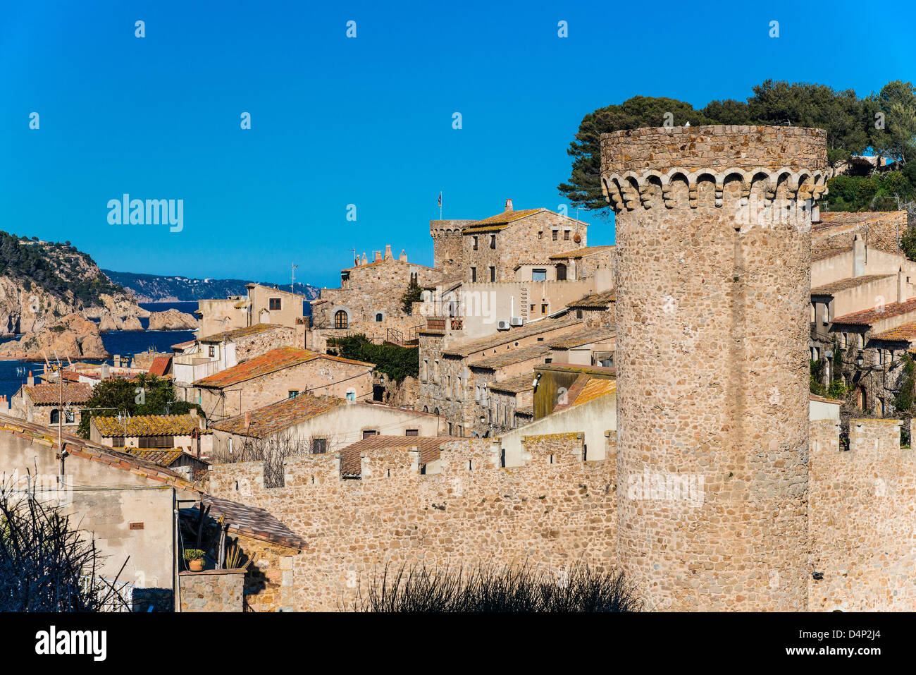 View over Vila Vella, the medieval old town of Tossa del Mar, Costa Brava, Catalonia, Spain - Stock Image