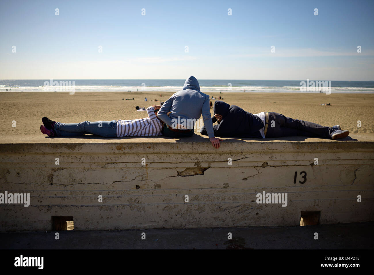 ocean beach youths san francisco - Stock Image