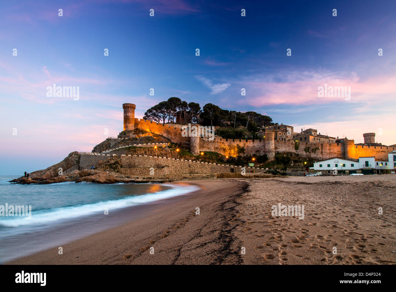 View at dusk of Vila Vella, the medieval old town of Tossa del Mar, Costa Brava, Catalonia, Spain - Stock Image