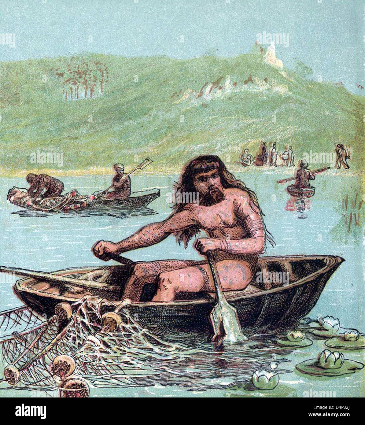 Ancient Britons fishing in their boats - Stock Image