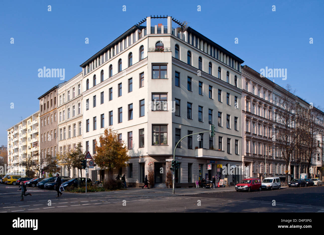 Berlin, Germany, a corner house in Berlin-Kreuzberg - Stock Image