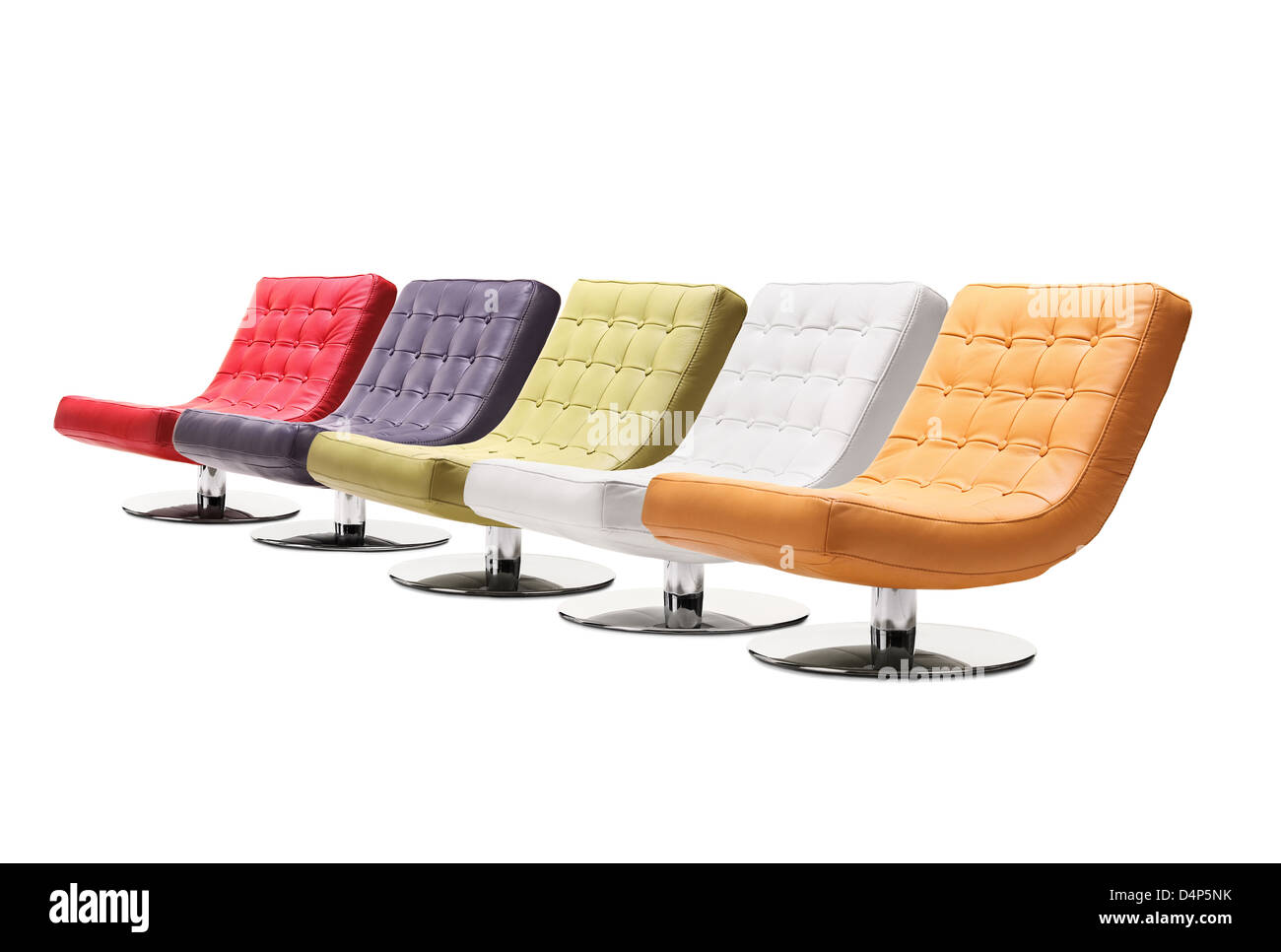 Studio Shot Of Colorful Leather Armchairs Isolated Against White Background