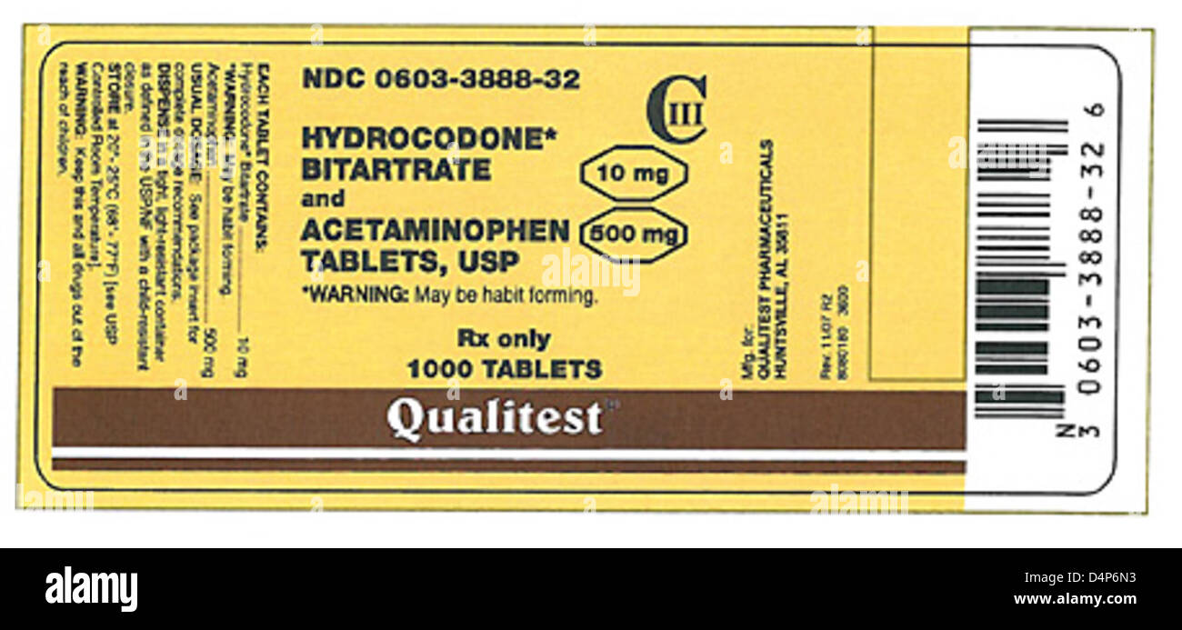 RECALLED – Hydrocodone bitartrate and acetaminophen 10mg/500 mg tablets - Stock Image