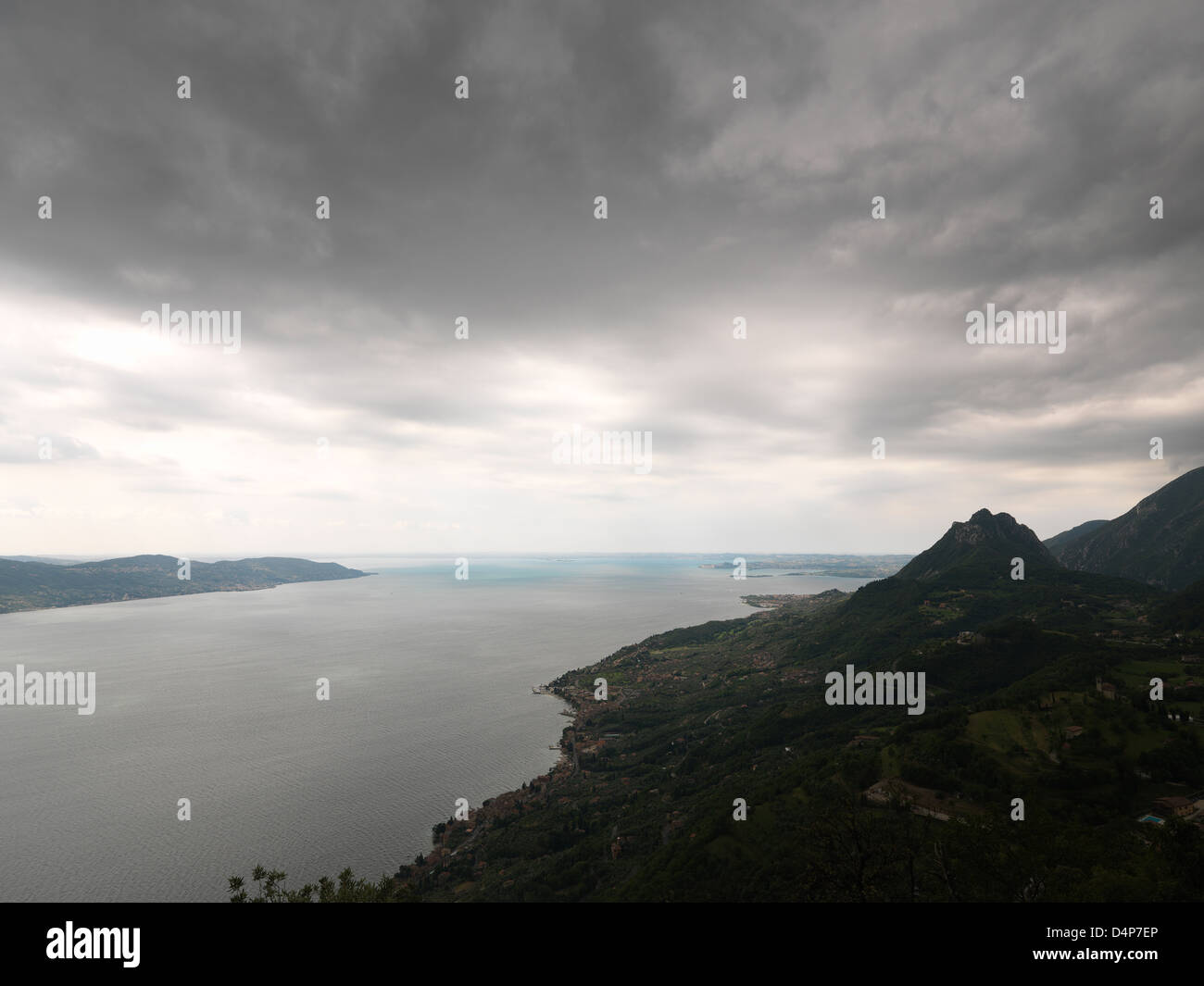 San Valentino, Italy, overlooking Lake Garda and just before a thunderstorm Stock Photo