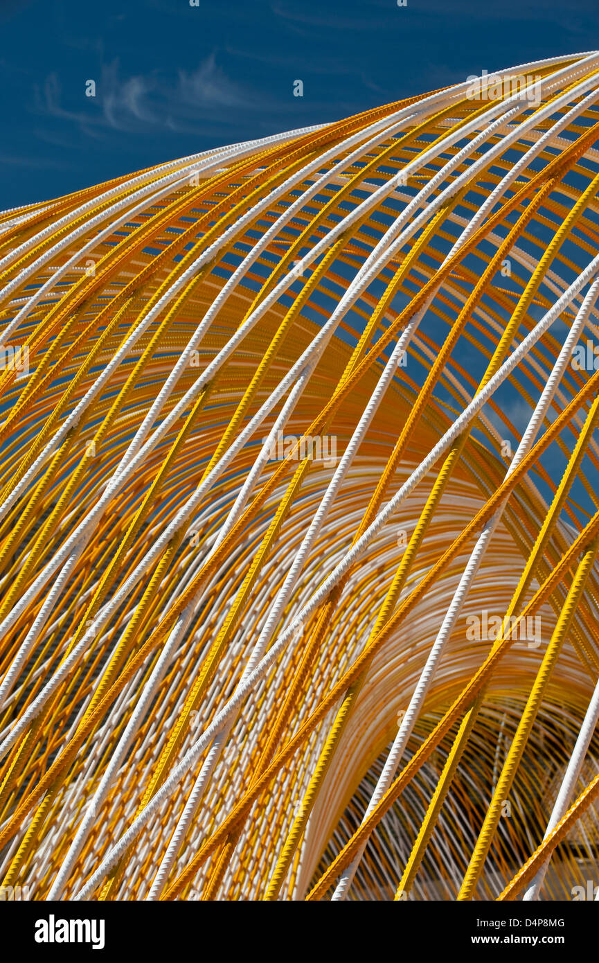 Modern metal architecture, Steel rods used for construction - Stock Image