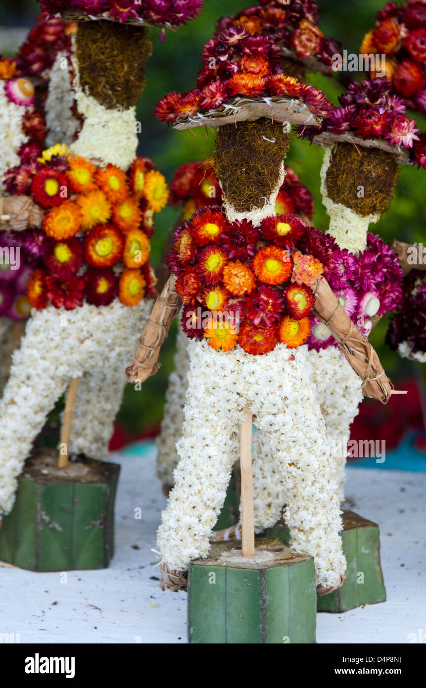 Partially completed mariachi band made of dried cornflowers (flor inmortal) for Noche de Rabanos, Oaxaca, Mexico. - Stock Image