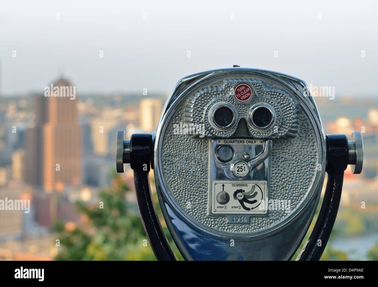 View of Pittsburgh, Pennsylvania form the hills, at the observation deck at the Duquesne Incline - Stock Image