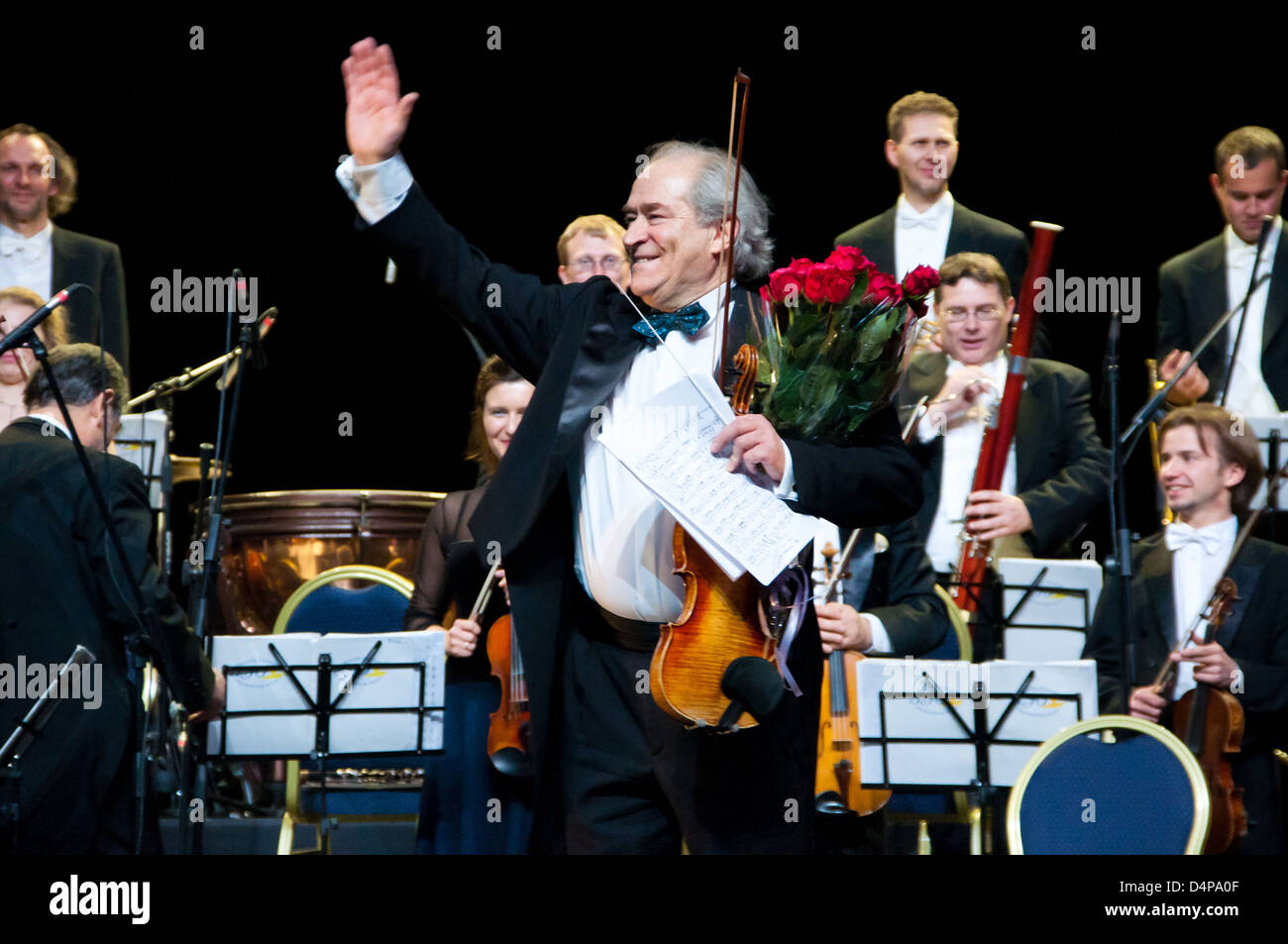 Conductor Peter Guth and Strauss Festival Orchestra Vienna in concert Crocus City Hall.  Moscow - November 17, 2010 - Stock Image