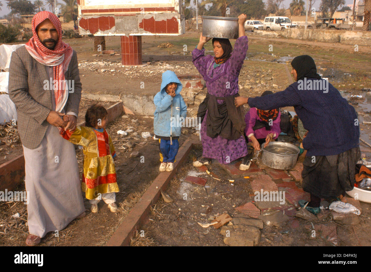 After the war, the Iraqi standard of living has declined sharply, and that poverty has many consequences for the - Stock Image