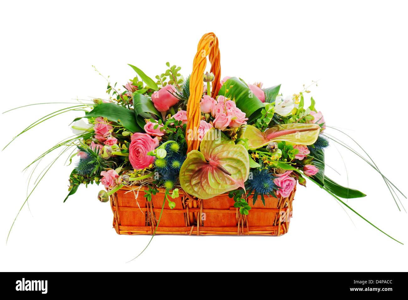 Flower Bouquet Arrangement Centerpiece In A Wicker Gift Basket Stock Photo Alamy
