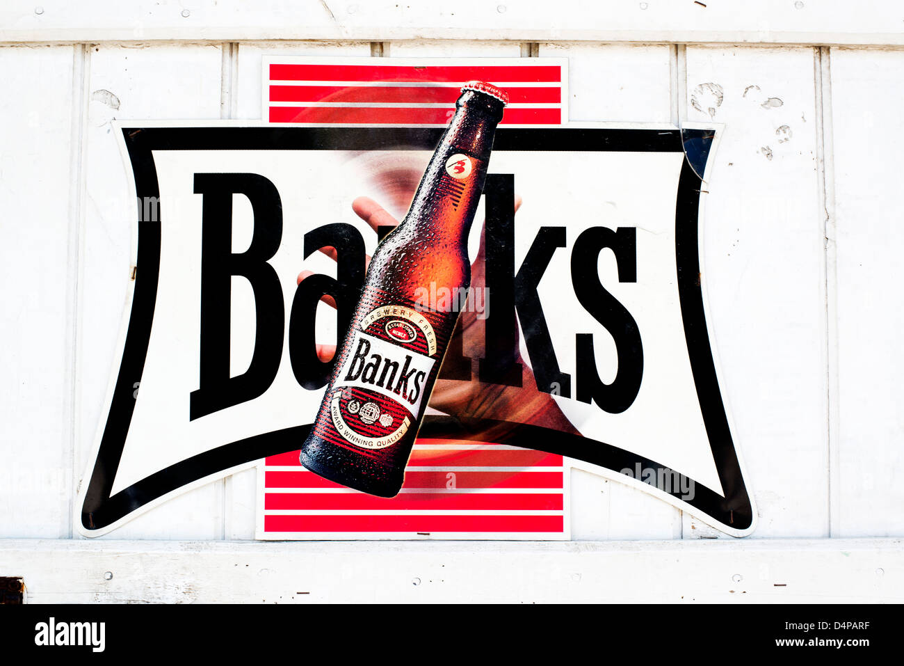Banks beer sign on a pub tavern wall in Speightstown ,Barbados, Caribbean - Stock Image