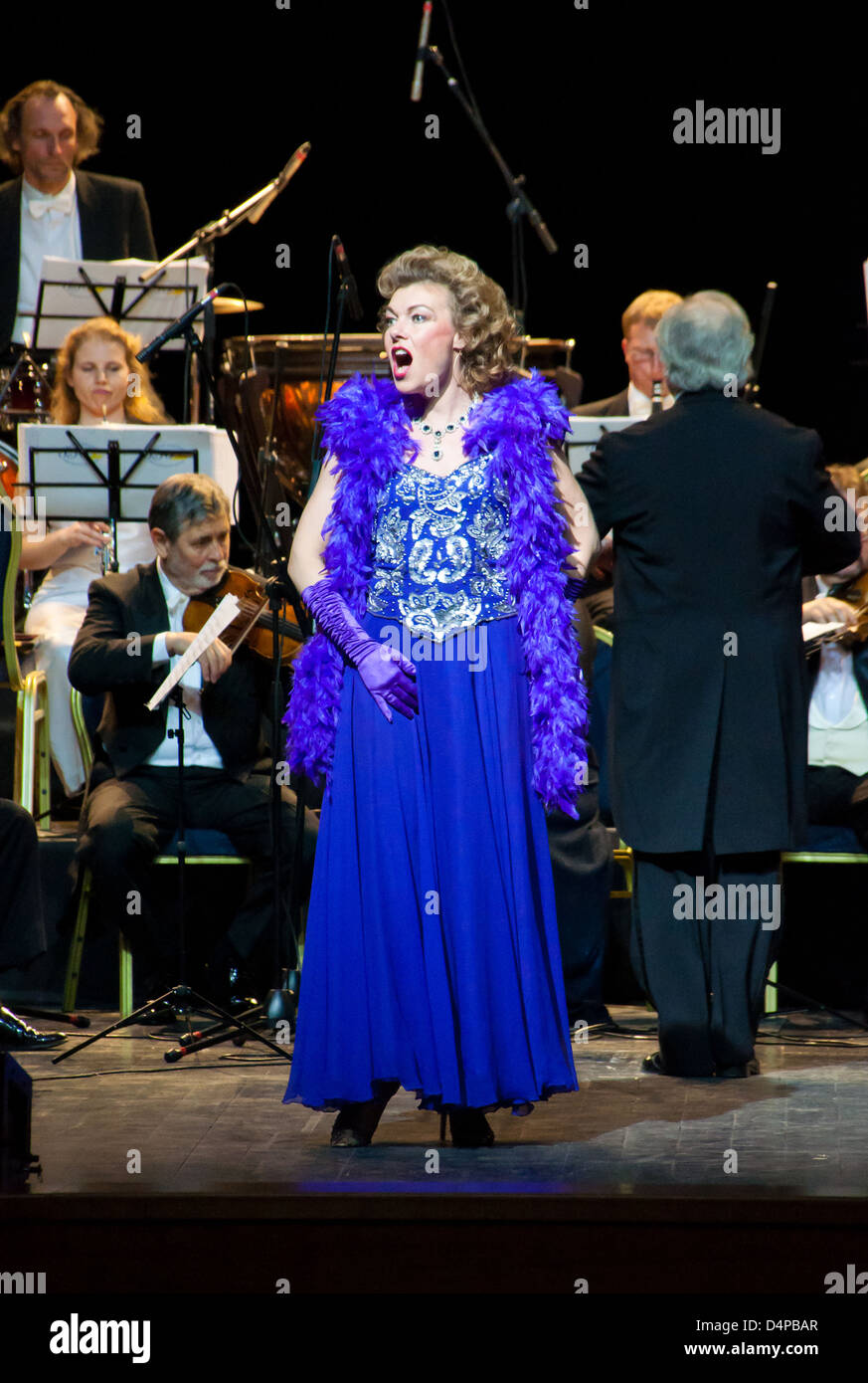 Singer Monica Mosser, conductor Peter Guth and Strauss Festival Orchestra Vienna in concert Crocus City Hall. Moscow - Stock Image