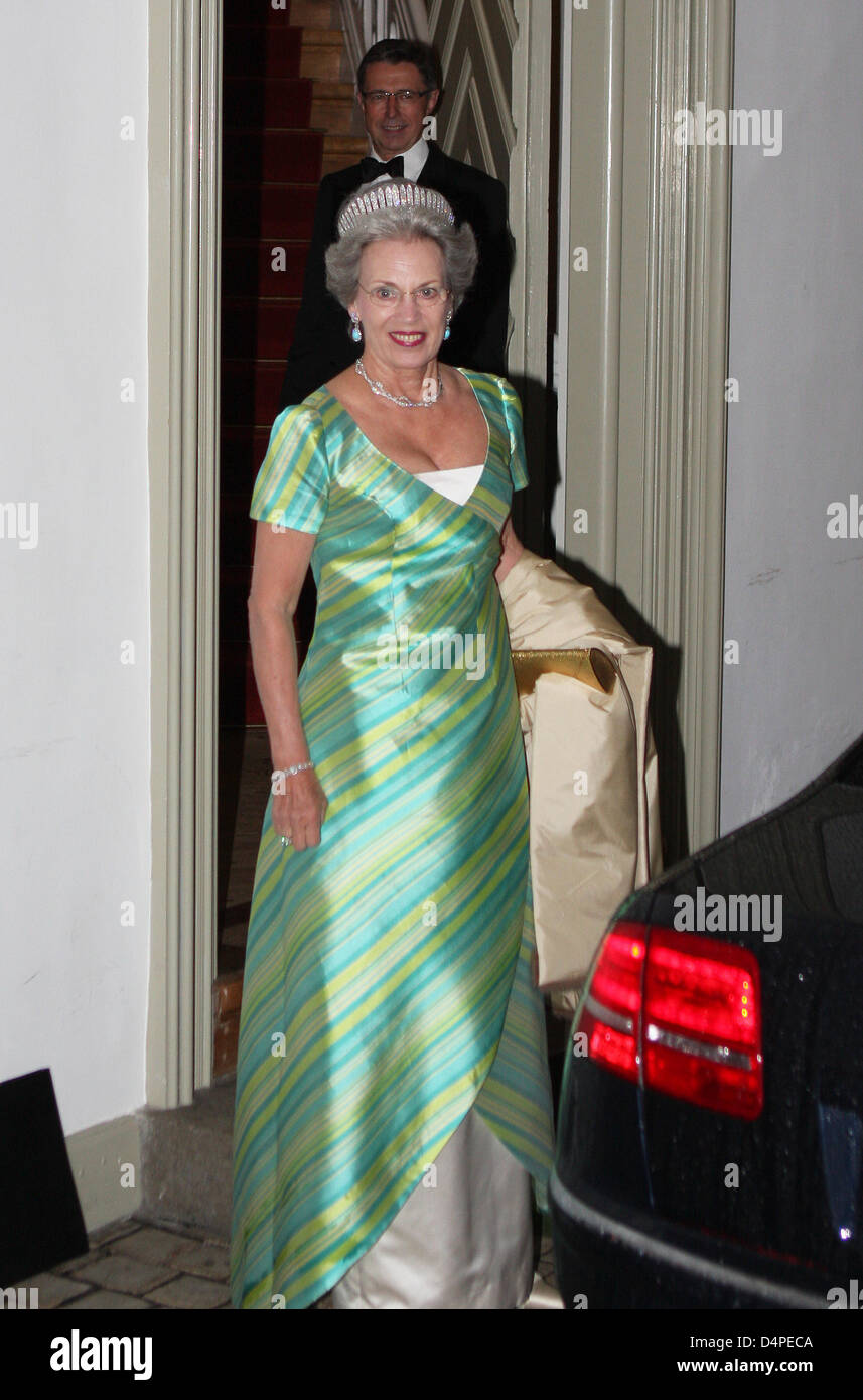 Princess Benedikte of Denmark arrives for a gala dinner on the occasion of the 75th birthday of Henrik Prince Consort - Stock Image