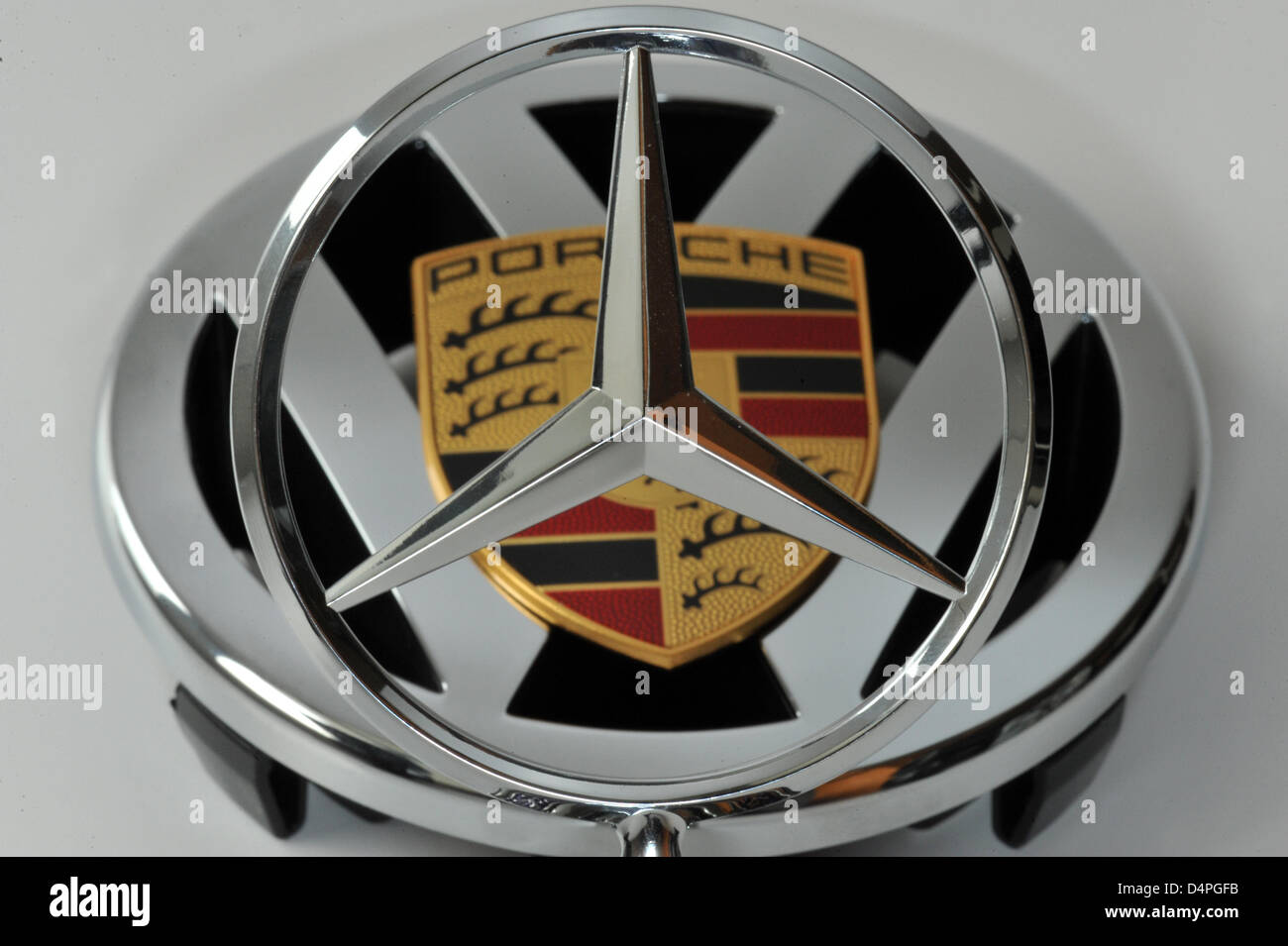 Logos Of German Car Makers Porsche Volkswagen And Daimler Assembled