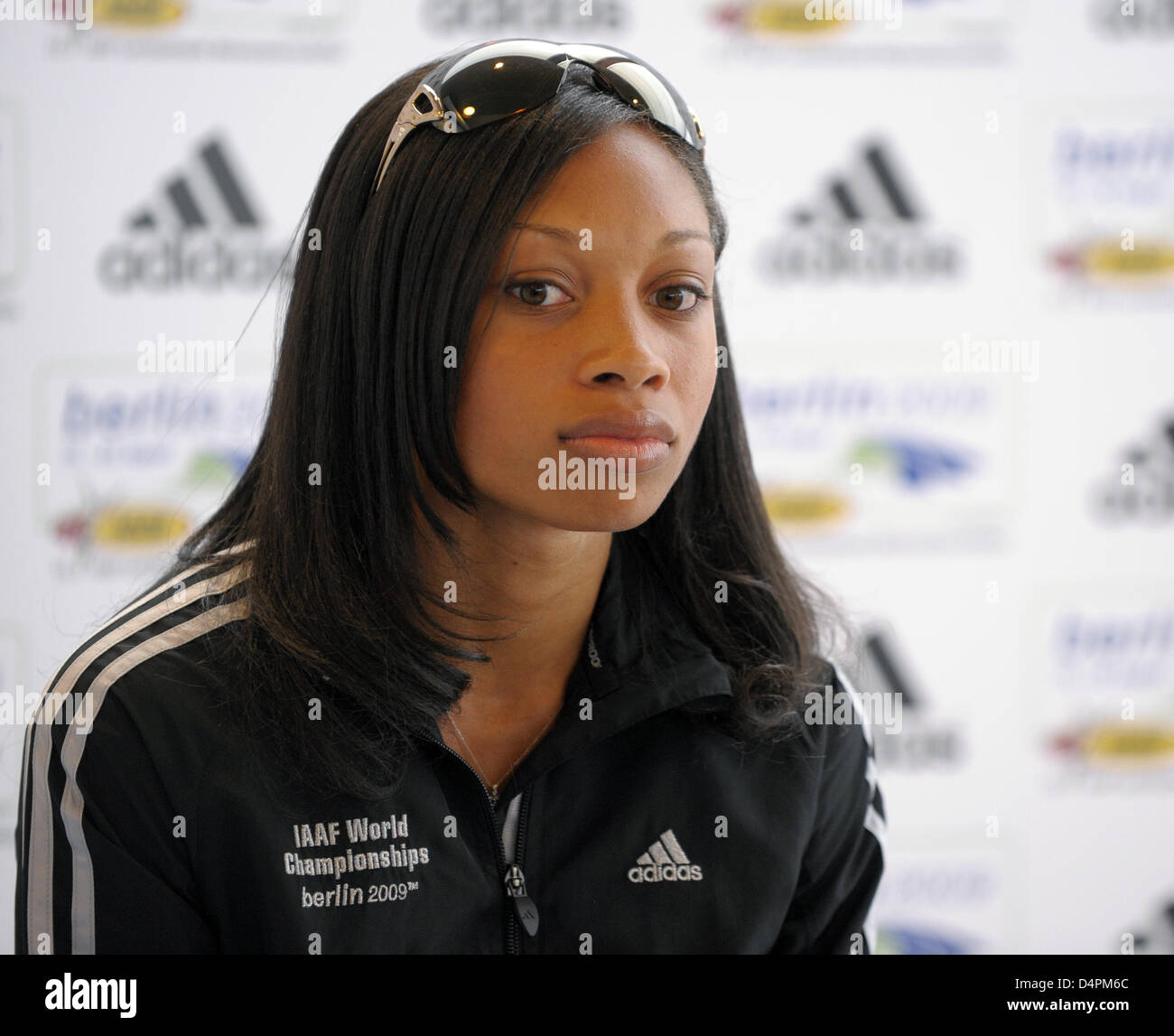 US sprinter Allyson Felix poses at a press conference at the 12th IAAF World Championships in Athletics in Berlin, - Stock Image