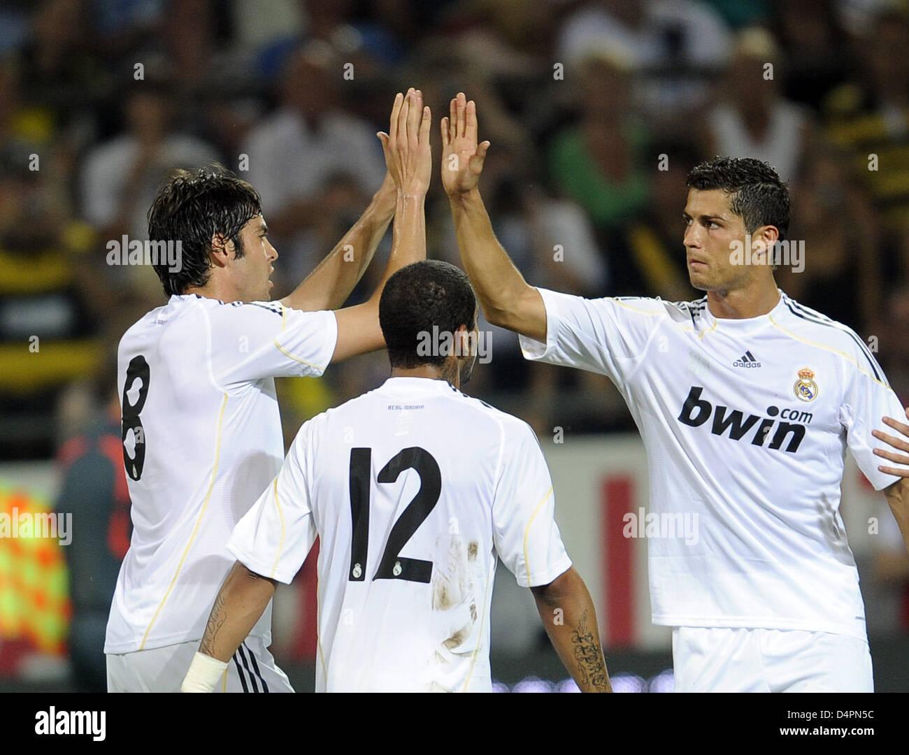 97055721def4 Madrid?s Kaka (L-R), Marcelo Vieira da Silva Junior and Cristiano Ronaldo  celebrate the 4-0 score during the friendly match Borussia Dortmund vs Real  Madrid ...