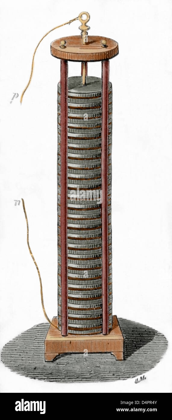 Voltaic pile invented by the italian physicist Alessandro ...