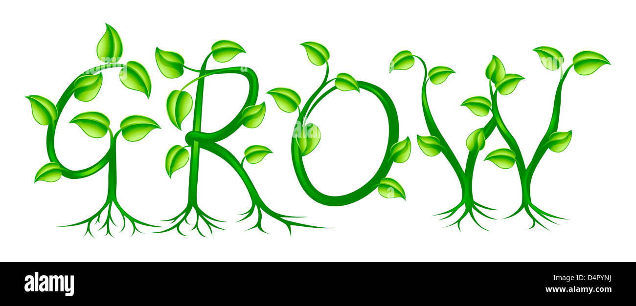 the word grow spelled out with a plant or vines with leaves growing