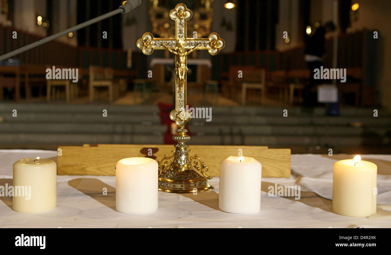 Candles are set up in the church where a memorial service was held for the casualties of the assalut on the Carolinum - Stock Image
