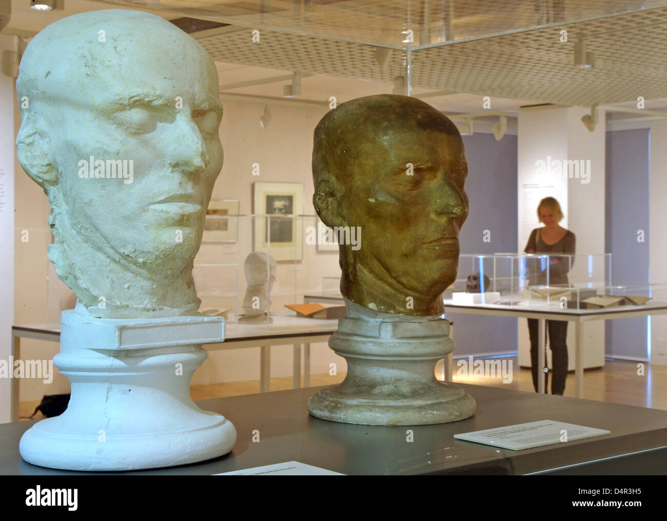 Two death masks of Schiller pictured at the exhibition ?Schillers skull - Physiognomy of an idea? in the Schillermuseum - Stock Image