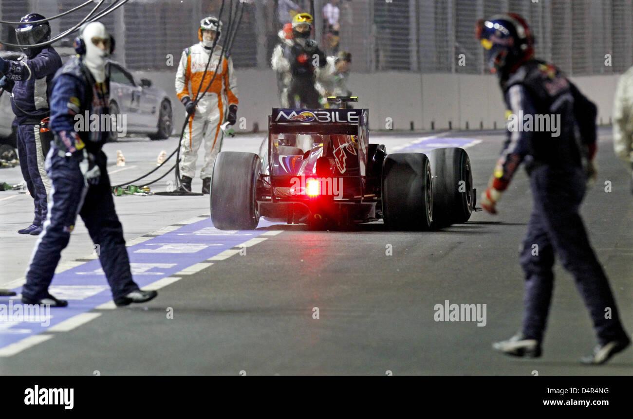 German Formula One driver Sebastian Vettel of Red Bull Racing pits during the Formula 1 Singapore Grand Prix  at - Stock Image