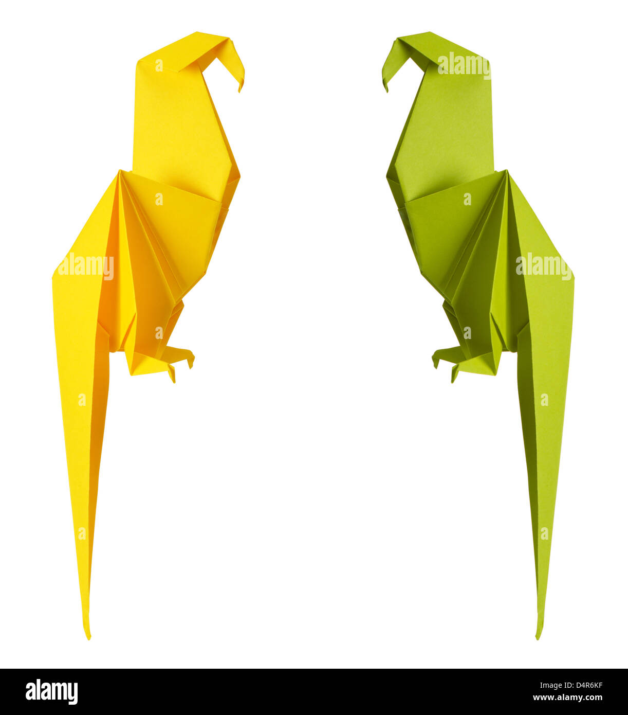 origami parrot isolated on a white background - Stock Image