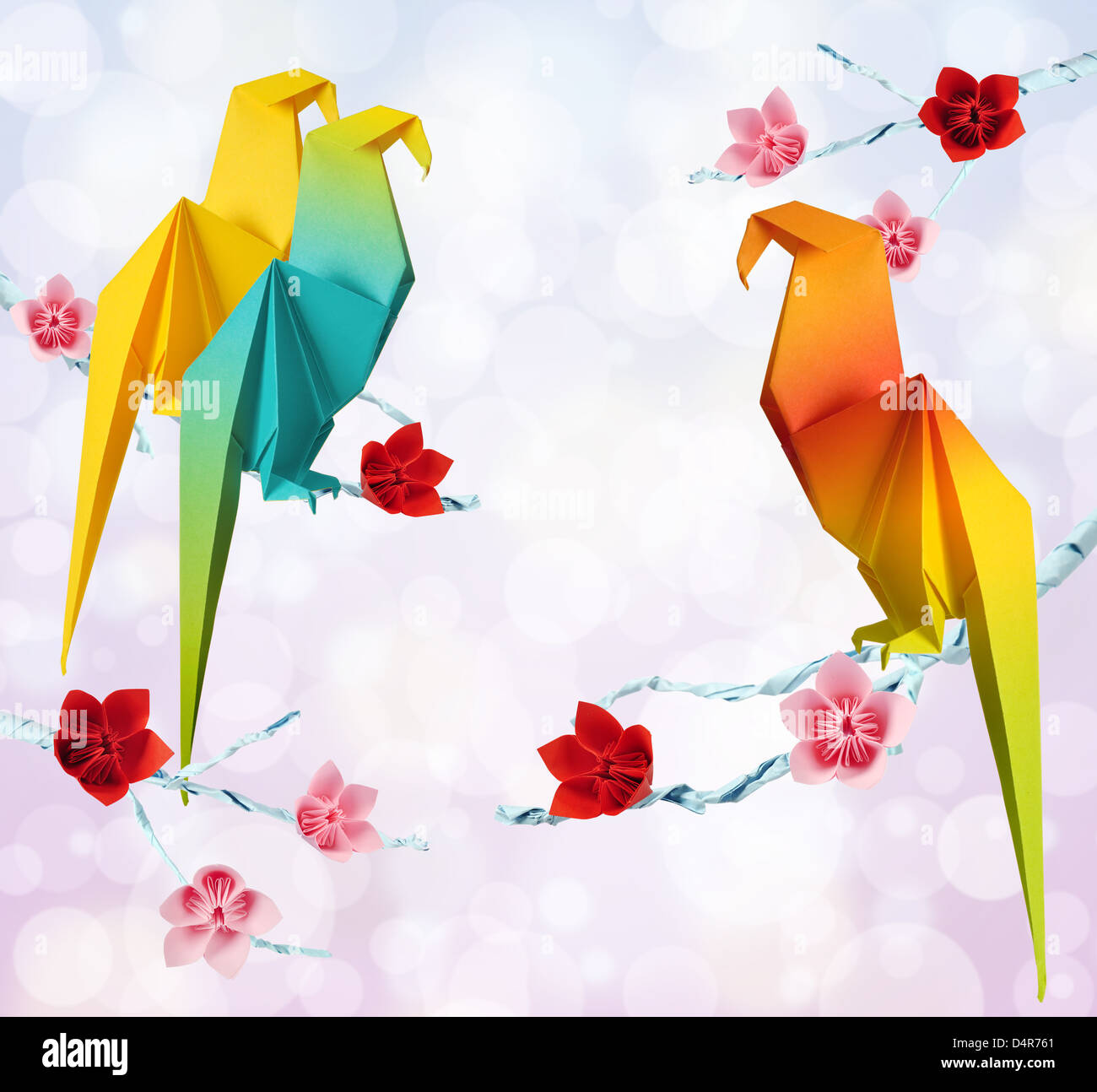 Parrot Flowers Stock Photos Images Alamy Origamiorigami Macaw Parrotorigami Diagram Origami Parrots On A Branches Trees With Pink Background Image