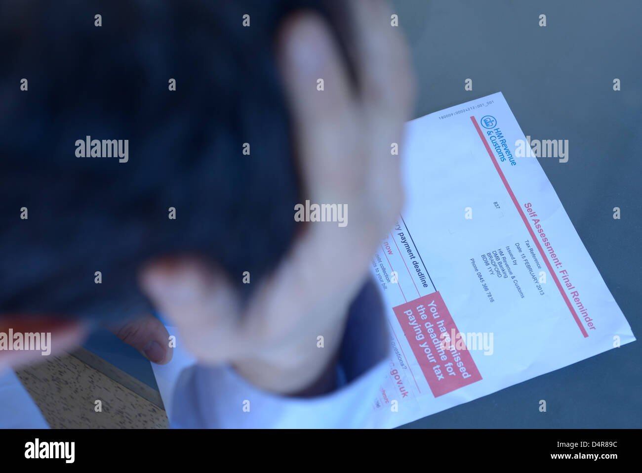 HM revenue & customs, HMRC self assessment final demand reminder letter. Tax reference and name have been removed. - Stock Image