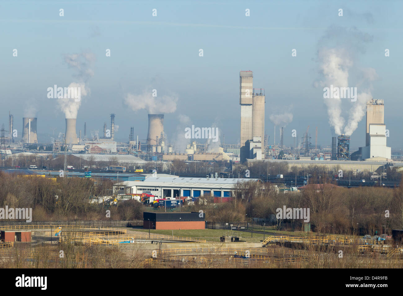 View of Billingham Chemical Complex from hill near river Tees. Billingham near Middlesbrough, Cleveland, England, - Stock Image
