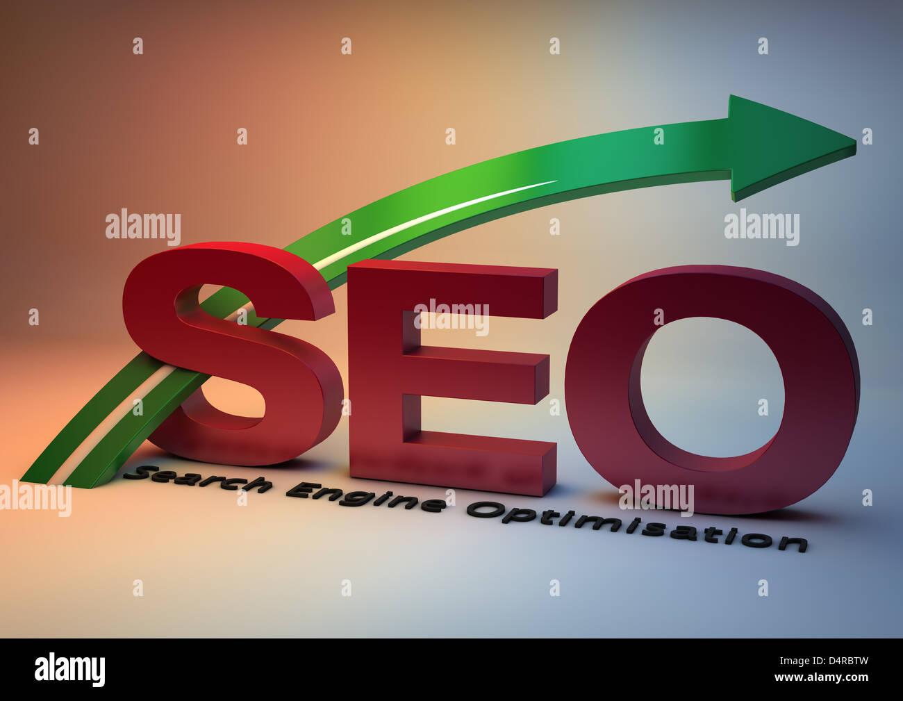 Improve SEO Search Engine Optimisation 3D rendered graphic illustration - Stock Image