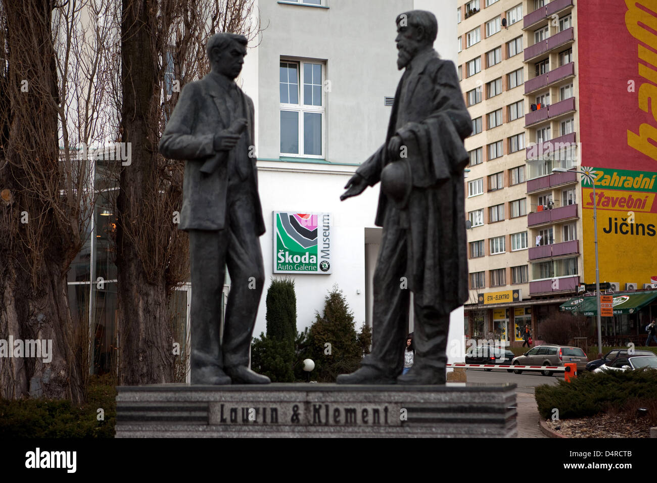 Sculptures of Skoda founder Vaclav Laurin and Vaclav Klement pictured in Mlada Boleslav, Czech Republic, 10 March - Stock Image