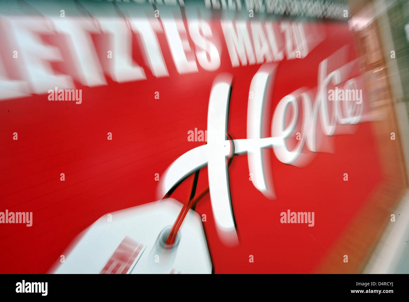 A poster in a window of insolvent department store chain Hertie reads ?A last time at Hertie? in Dortmund, Germany, - Stock Image