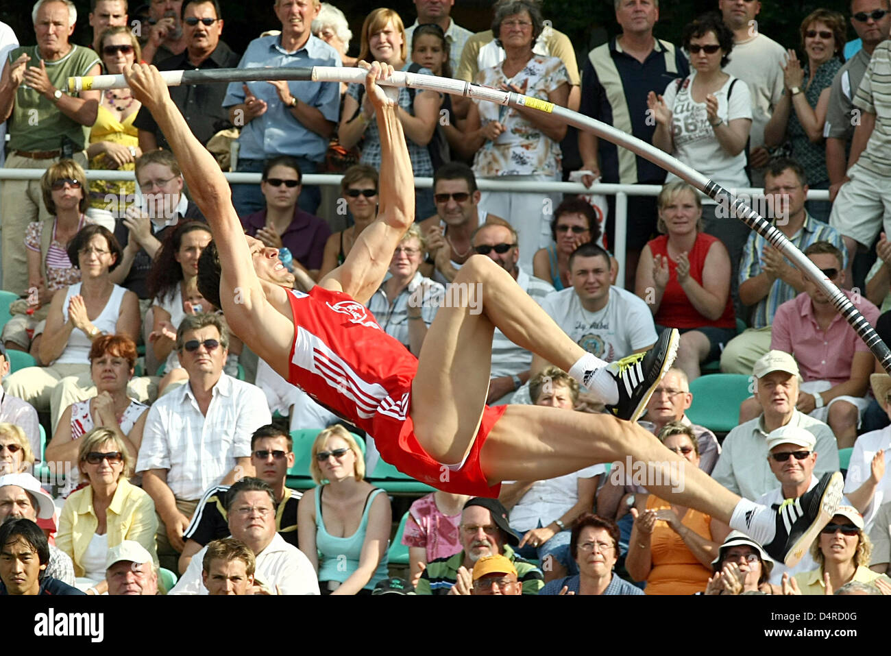German pole-vaulter Daniel Ecker of TSV Bayer 04 Leverkusen seen in action during the 20th International Athletics - Stock Image