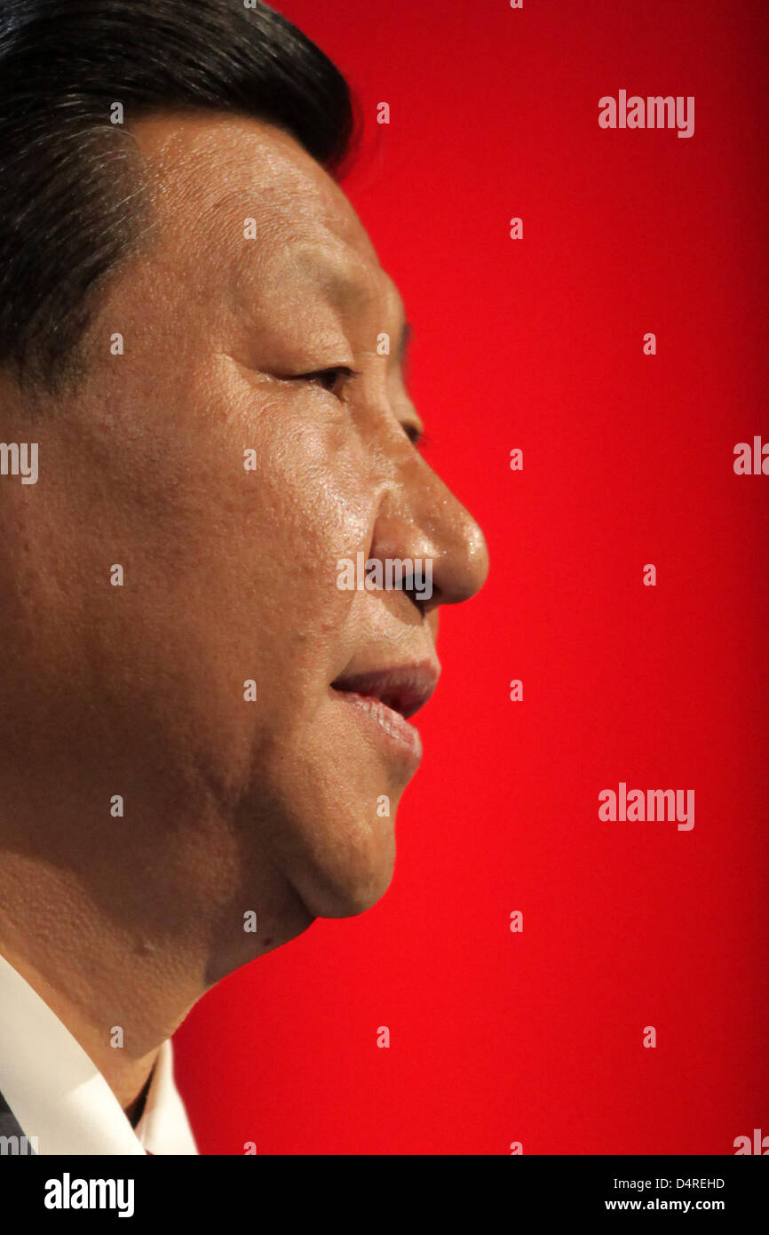 Chinese Vice President Xi Jinping speaks at the opening event at the Frankfurt Book Fair in Frankfurt Main, Germany, - Stock Image