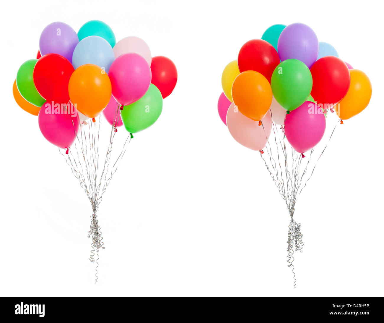 colorful balloons isolated on white - Stock Image