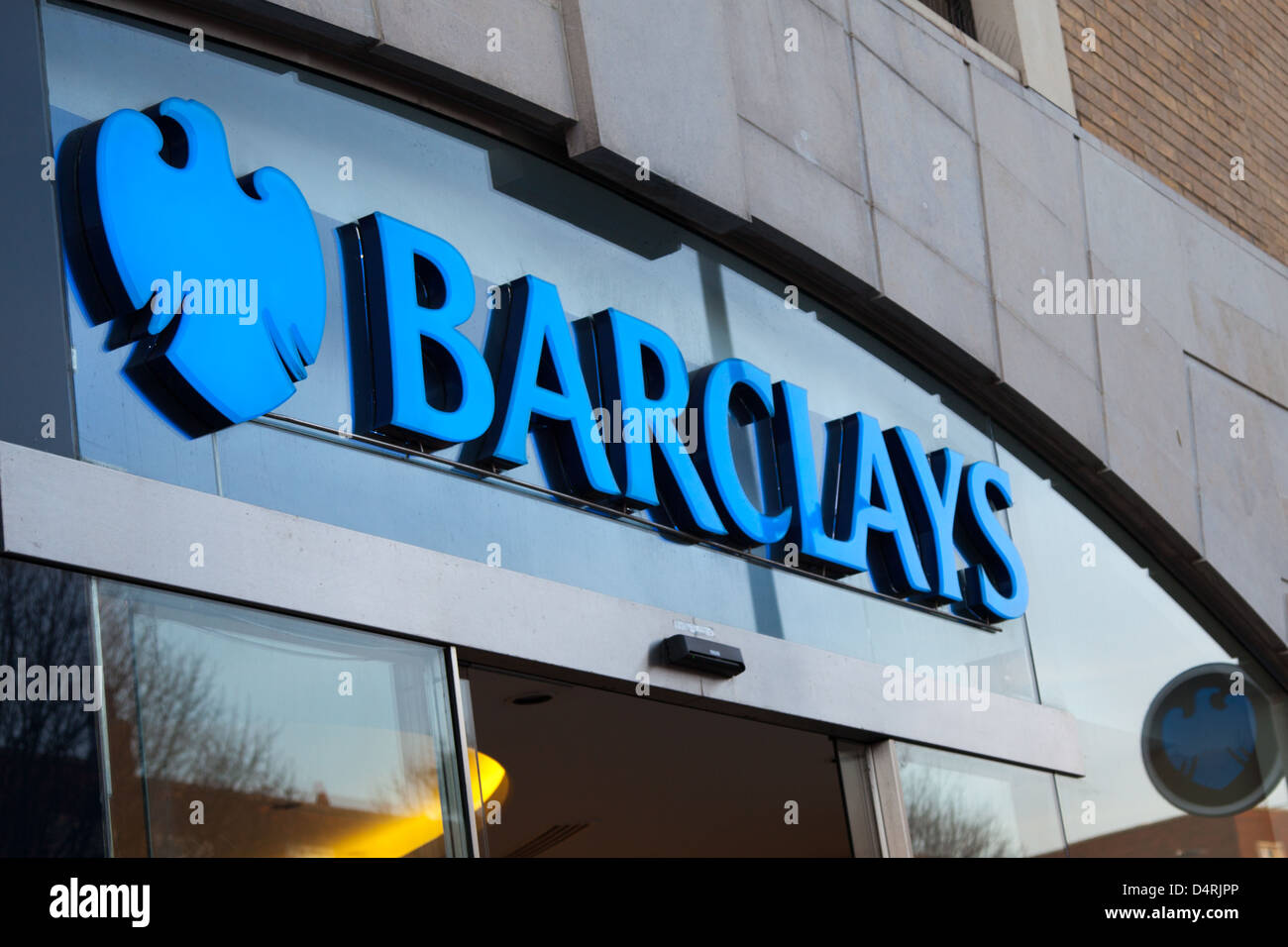 A general view of the Barclays bank logo at the Above Bar Street branch in Southampton Stock Photo