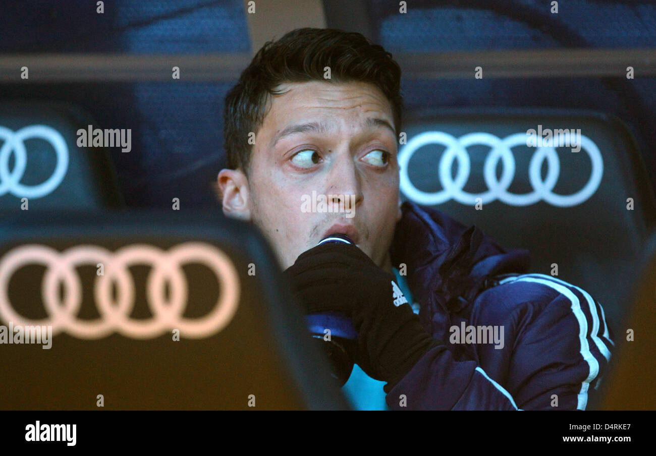 Real Madrid's Mesut Oezil is seen prior to the Spanish Primera Division soccer match between Real Madrid and - Stock Image
