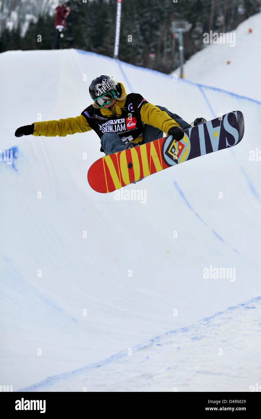 Competitor of slope style snowboard World Cup event Jenny Jones of Britain is seen in Spindleruv Mlyn, Czech Republic, - Stock Image