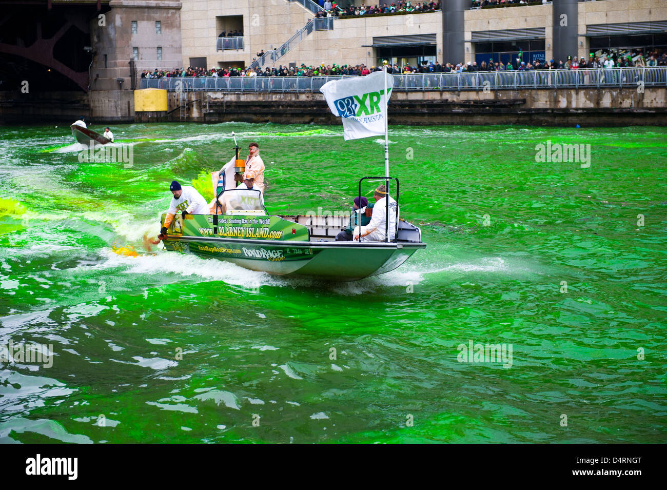 The Chicago River is dyed green for St. Patrick's Day in Chicago, U.S.A., on Saturday March 16, 2013. - Stock Image