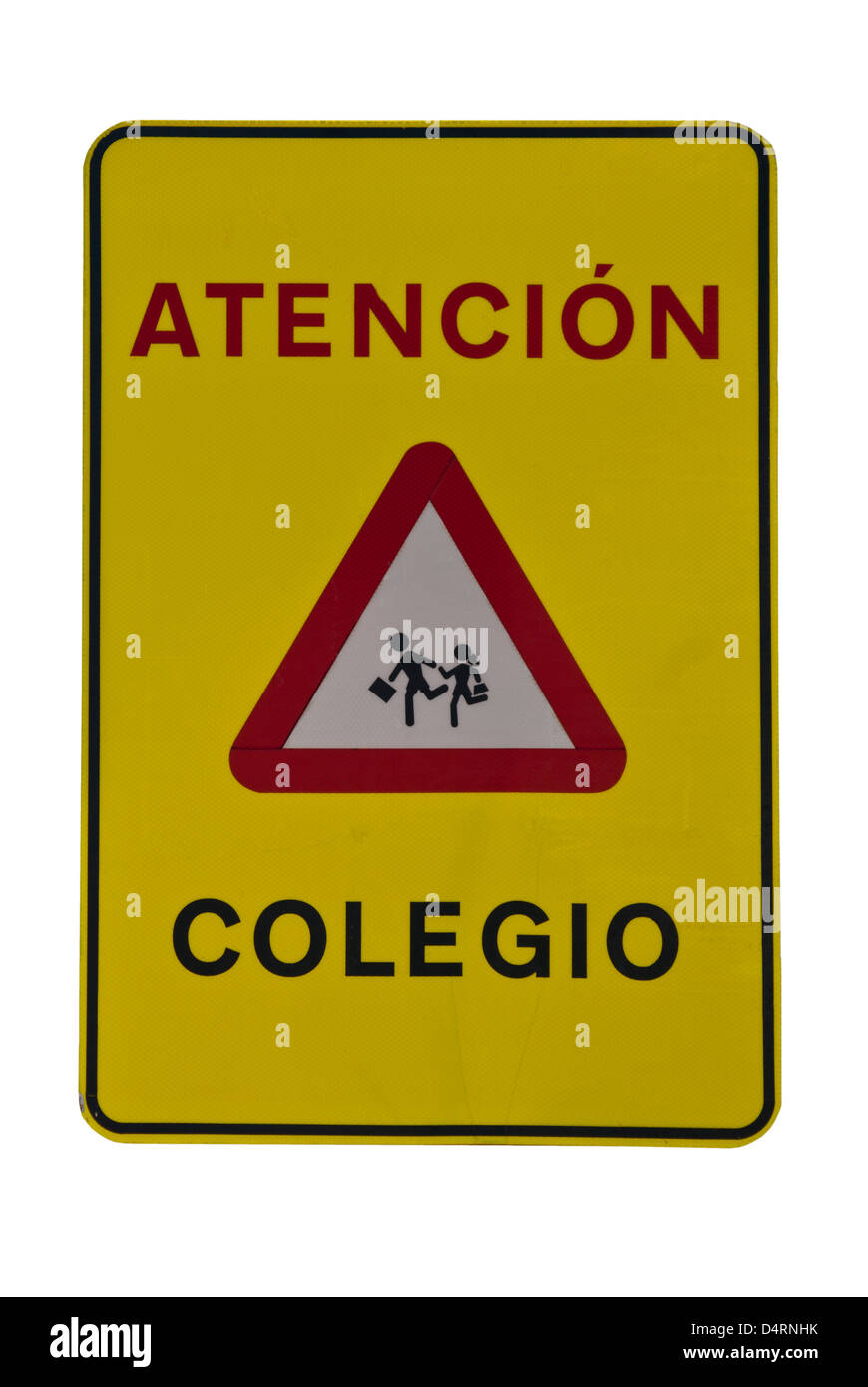 Spanish School Road Sign Spain Signs - Stock Image