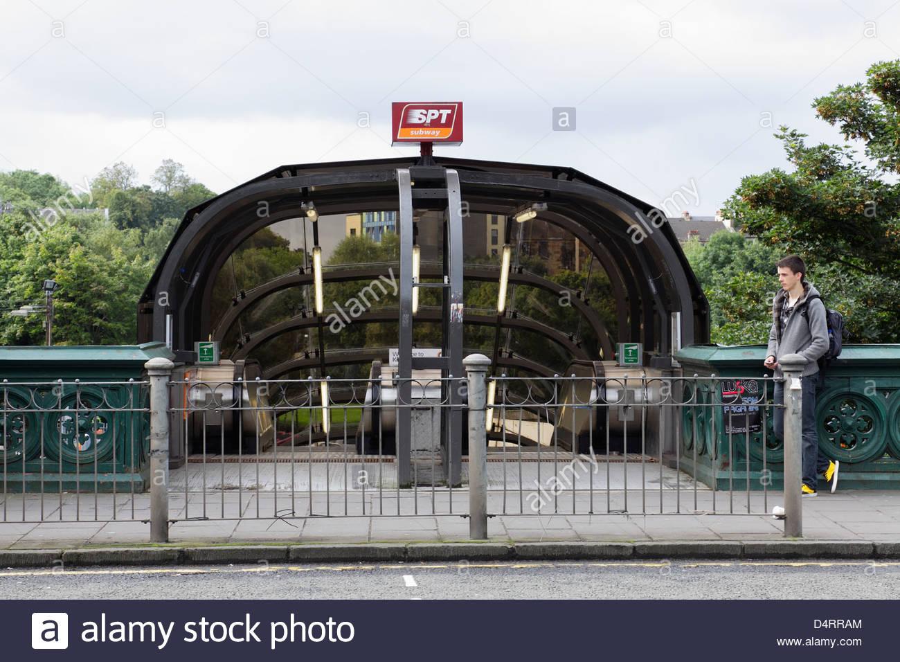 Entrance to Kelvinbridge Subway Station, Glasgow, Scotland, UK - Stock Image