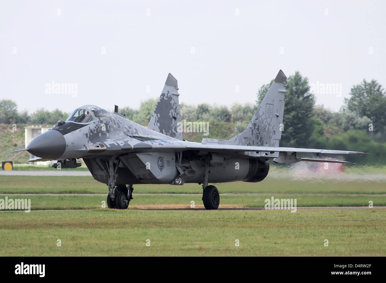 Slovak Air Force MiG-29AS aircraft in digital camouflage, Kecskemet, Hungary. Stock Photo